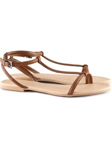 Sandals - predominant colour: tan; occasions: casual, work, holiday; material: faux leather; heel height: flat; ankle detail: ankle strap; heel: standard; toe: open toe/peeptoe; style: standard; finish: plain; pattern: plain