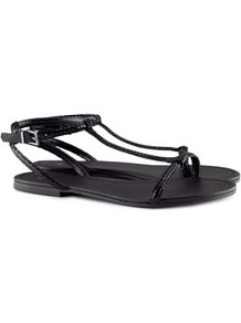 Sandals - predominant colour: black; occasions: casual, work, holiday; material: faux leather; heel height: flat; ankle detail: ankle strap; heel: standard; toe: open toe/peeptoe; style: standard; finish: patent; pattern: plain