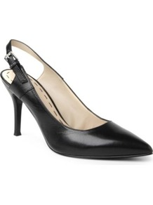 Foe Leather Slingback Courts - predominant colour: black; occasions: evening, work, occasion; material: leather; heel height: high; heel: standard; toe: pointed toe; style: slingbacks; finish: plain; pattern: plain