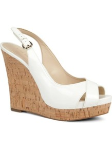Laffnplay Wedge Sandals - predominant colour: white; occasions: casual, evening, holiday; material: leather; heel: wedge; toe: open toe/peeptoe; style: standard; finish: patent; pattern: plain; heel height: very high