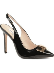 Cadet Patent Slingback Court Shoes - secondary colour: gold; predominant colour: black; occasions: evening, work, occasion; material: leather; heel: stiletto; toe: pointed toe; style: slingbacks; finish: patent; pattern: plain; embellishment: bow; heel height: very high