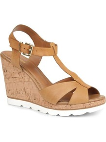 Giraffe Leather Wedge Sandals - predominant colour: tan; occasions: casual, evening, holiday; material: leather; heel height: high; ankle detail: ankle strap; heel: wedge; toe: open toe/peeptoe; style: standard; finish: plain; pattern: plain
