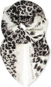 Jaguar Print Scarf - predominant colour: ivory; secondary colour: black; occasions: casual, evening, work; type of pattern: heavy; style: regular; size: standard; material: fabric; pattern: animal print; trends: statement prints