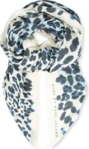 Jaguar Print Scarf - predominant colour: ivory; secondary colour: navy; occasions: casual, evening, work; type of pattern: heavy; style: regular; size: standard; material: fabric; pattern: animal print; trends: statement prints