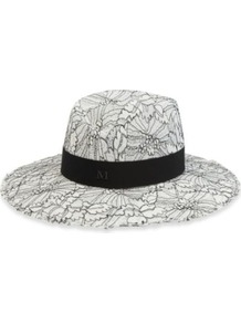 Virginie Hat - secondary colour: white; occasions: casual, occasion, holiday; type of pattern: heavy; style: fedora; size: standard; material: felt; embellishment: ribbon; predominant colour: monochrome; trends: statement prints, modern geometrics; pattern: patterned/print