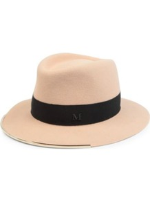Beanche Trilby Hat - predominant colour: nude; secondary colour: black; occasions: casual, holiday; type of pattern: small; style: trilby; size: standard; material: felt; embellishment: ribbon; pattern: plain