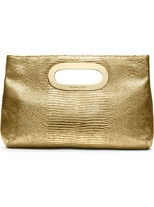 Berkley Mock Lizard Clutch - predominant colour: gold; occasions: evening, occasion, holiday; type of pattern: standard; style: clutch; length: hand carry; size: small; material: leather; pattern: plain; trends: metallics; finish: metallic; embellishment: chain/metal