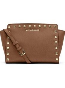 Selma Studded Saffiano Messenger Bag - predominant colour: tan; secondary colour: gold; occasions: casual, evening, work, occasion, holiday; type of pattern: standard; style: messenger; length: shoulder (tucks under arm); size: standard; material: leather; embellishment: studs; pattern: plain; trends: metallics; finish: plain