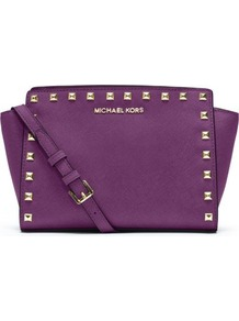 Selma Studded Saffiano Messenger Bag - predominant colour: purple; secondary colour: gold; occasions: casual, evening, work, occasion, holiday; type of pattern: standard; style: messenger; length: shoulder (tucks under arm); size: standard; material: leather; embellishment: studs; pattern: plain; trends: metallics; finish: plain
