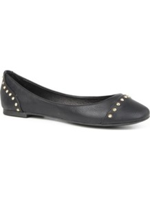 Kstudd Leather Studded Pumps - predominant colour: black; occasions: casual, evening, work; material: leather; heel height: flat; embellishment: studs; toe: round toe; style: ballerinas / pumps; finish: plain; pattern: plain