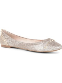 Kstudd Metallic Studded Pumps - predominant colour: silver; occasions: casual, evening, holiday; material: faux leather; heel height: flat; embellishment: studs; toe: round toe; style: ballerinas / pumps; trends: metallics; finish: metallic; pattern: plain