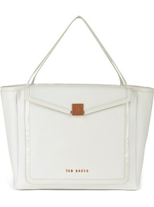 Ted Baker Cherrii Leather Shopper - predominant colour: white; secondary colour: gold; occasions: casual, evening, work, occasion, holiday; type of pattern: standard; style: tote; length: shoulder (tucks under arm); size: oversized; material: leather; pattern: plain; finish: plain