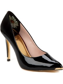 Ted Baker Neevo Pointed Court Shoe - secondary colour: gold; predominant colour: black; occasions: evening, work, occasion; material: leather; heel height: high; heel: stiletto; toe: pointed toe; style: courts; trends: metallics; finish: patent; pattern: plain; embellishment: chain/metal