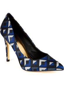 Ted Baker Herrer Pointed Court Shoe - secondary colour: purple; predominant colour: black; occasions: evening, work, occasion; material: fabric; heel height: high; embellishment: crystals; heel: stiletto; toe: pointed toe; style: courts; trends: modern geometrics; finish: plain; pattern: patterned/print
