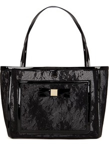 Ted Baker Larton Small Lace Shopper Bag - secondary colour: white; predominant colour: black; occasions: casual, evening, work, occasion; type of pattern: small; style: tote; length: shoulder (tucks under arm); size: oversized; material: faux leather; pattern: plain; finish: patent; embellishment: lace