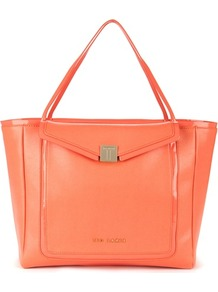 Ted Baker Cherrii Leather Shopper - predominant colour: bright orange; occasions: casual, work, holiday; type of pattern: standard; style: tote; length: shoulder (tucks under arm); size: oversized; material: leather; pattern: plain; finish: plain
