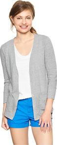 Shoreline Slub Cardigan - neckline: plunge; pattern: plain; length: below the bottom; predominant colour: light grey; occasions: casual; style: standard; fibres: cotton - mix; fit: standard fit; sleeve length: long sleeve; sleeve style: standard; texture group: knits/crochet; pattern type: knitted - other