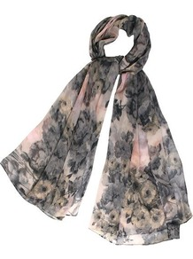 Etched Print Scarf, Pink - secondary colour: nude; predominant colour: charcoal; occasions: casual; type of pattern: standard; style: regular; size: standard; material: fabric; pattern: florals