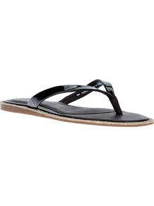 'Allaria' Flip Flop - predominant colour: black; occasions: casual, holiday; material: leather; heel height: flat; heel: standard; toe: toe thongs; style: flip flops / toe post; finish: patent; pattern: plain