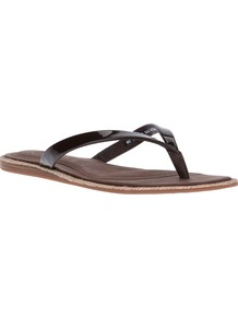 'Allaria' Flip Flop - predominant colour: black; occasions: casual, holiday; material: leather; heel height: flat; heel: standard; toe: toe thongs; style: flip flops / toe post; finish: plain; pattern: plain