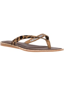 'Allaria' Flip Flop - predominant colour: camel; secondary colour: black; occasions: casual, holiday; material: plastic/rubber; heel height: flat; heel: standard; toe: toe thongs; style: flip flops / toe post; finish: plain; pattern: animal print
