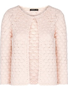 Crochet Cardigan - neckline: round neck; pattern: plain; predominant colour: blush; occasions: casual; length: standard; style: standard; fibres: cotton - 100%; fit: standard fit; sleeve length: long sleeve; sleeve style: standard; texture group: knits/crochet; pattern type: knitted - big stitch