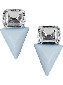 Rhinestone And Triangle Studs - predominant colour: pale blue; occasions: casual, evening, occasion, holiday; style: stud; length: mid; size: standard; material: plastic/rubber; fastening: pierced; finish: plain; embellishment: crystals; secondary colour: clear