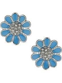 Enamel Blue Flower Studs - predominant colour: turquoise; secondary colour: silver; occasions: evening, work, occasion, holiday; style: stud; length: short; size: standard; material: chain/metal; fastening: pierced; finish: metallic; embellishment: crystals