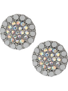Vintage Rhinestone Studs - predominant colour: ivory; secondary colour: silver; occasions: evening, work, occasion, holiday; style: stud; length: short; size: standard; material: chain/metal; fastening: pierced; finish: metallic; embellishment: crystals