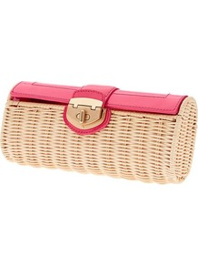 Milly Collection Patent Wicker Clutch - predominant colour: coral; secondary colour: nude; occasions: casual, evening, holiday; type of pattern: light; style: clutch; length: hand carry; size: small; material: macrame/raffia/straw; finish: plain; pattern: colourblock