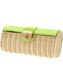 Milly Collection Patent Wicker Clutch - predominant colour: lime; secondary colour: nude; occasions: casual, evening, occasion, holiday; type of pattern: light; style: clutch; length: hand carry; size: small; material: macrame/raffia/straw; trends: fluorescent; finish: plain; pattern: colourblock