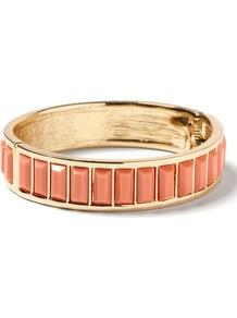 Milly Collection Baguette Bangle - predominant colour: coral; secondary colour: gold; occasions: casual, evening, work, holiday; style: bangle; size: standard; material: chain/metal; finish: patent; embellishment: jewels