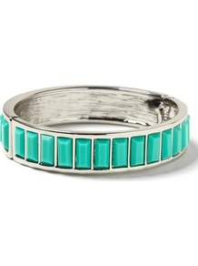 Milly Collection Baguette Bangle - predominant colour: mint green; secondary colour: silver; occasions: casual, evening, work, holiday; style: bangle; size: standard; material: chain/metal; finish: metallic; embellishment: jewels