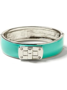 Milly Collection Enamel Lock Bangle - predominant colour: mint green; secondary colour: silver; occasions: casual, evening, work, holiday; style: bangle; size: standard; material: chain/metal; finish: metallic; embellishment: chain/metal
