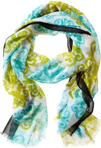 Milly Collection Medallion Scarf - secondary colour: turquoise; predominant colour: lime; occasions: casual, work; type of pattern: standard; style: regular; size: standard; material: fabric; pattern: patterned/print