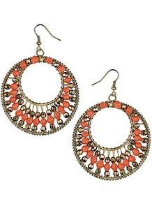 Coral Bead Hoop Drop Earrings - predominant colour: coral; secondary colour: bronze; occasions: casual, evening, occasion, holiday; style: hoop; length: long; size: large/oversized; material: chain/metal; fastening: pierced; finish: metallic; embellishment: beading