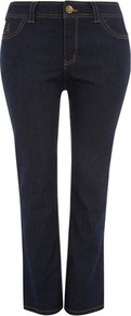 Indigo Straight Leg Jeans - style: straight leg; length: standard; pattern: plain; pocket detail: traditional 5 pocket; waist: mid/regular rise; predominant colour: navy; occasions: casual; fibres: cotton - stretch; jeans detail: dark wash; texture group: denim; pattern type: fabric