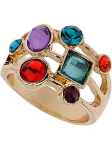 Mixed Stone Ring - predominant colour: gold; occasions: evening, occasion, holiday; style: cocktail; size: large/oversized; material: chain/metal; finish: metallic; embellishment: jewels
