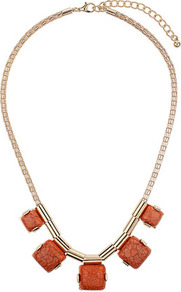 Coral Square Stone Necklace - predominant colour: coral; secondary colour: gold; occasions: casual, evening, work, occasion, holiday; style: standard; length: mid; size: standard; material: chain/metal; finish: plain; embellishment: beading
