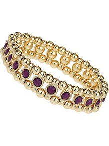 Stone Stretch Bracelet - secondary colour: purple; predominant colour: gold; occasions: casual, evening, work, occasion, holiday; style: bangle; size: small; material: chain/metal; finish: metallic; embellishment: jewels