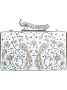 Designed Peacock Clutch - predominant colour: white; secondary colour: silver; occasions: evening; style: clutch; length: hand carry; size: small; material: faux leather; embellishment: embroidered; finish: plain; pattern: patterned/print