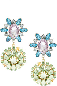 Double Flower Drop Earring - occasions: evening, occasion; predominant colour: multicoloured; style: drop; length: long; size: large/oversized; material: chain/metal; fastening: pierced; finish: metallic; embellishment: jewels