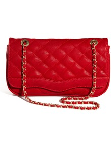 Kannard Quilted Chain Strap Cross Body Bag - predominant colour: true red; occasions: casual, evening; type of pattern: standard; style: shoulder; length: across body/long; size: small; material: faux leather; embellishment: quilted; pattern: plain; finish: plain