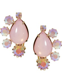 Cluster Clip On Earrings - predominant colour: blush; occasions: casual, evening, occasion; style: drop; length: short; size: standard; material: chain/metal; fastening: clip on; finish: plain; embellishment: jewels