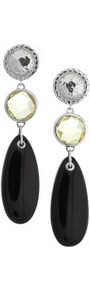 Mini Luna Sterling Silver, Quartz And Onyx Earrings - secondary colour: silver; predominant colour: black; occasions: evening, occasion; style: drop; length: long; size: standard; material: chain/metal; fastening: pierced; finish: plain; embellishment: crystals