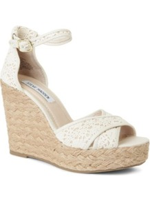 Marrvil Crochet Wedge Sandals - predominant colour: ivory; occasions: casual, holiday; material: lace; heel height: high; ankle detail: ankle strap; heel: wedge; toe: open toe/peeptoe; style: standard; finish: plain; pattern: plain