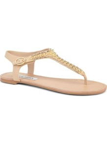 Beyyond Studded Sandals - predominant colour: nude; secondary colour: gold; occasions: casual, holiday; material: leather; heel height: flat; embellishment: studs; ankle detail: ankle strap; heel: block; toe: toe thongs; style: flip flops / toe post; trends: metallics; finish: plain; pattern: plain