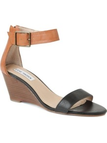 Nanncy Leather Wedge Sandals - secondary colour: tan; predominant colour: black; occasions: casual, evening, work, holiday; material: leather; heel height: mid; ankle detail: ankle strap; heel: wedge; toe: open toe/peeptoe; style: standard; finish: plain; pattern: colourblock