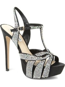Ally Diamant Embellished Satin Sandals - predominant colour: black; occasions: evening, occasion; material: satin; embellishment: crystals; ankle detail: ankle strap; heel: platform; toe: open toe/peeptoe; style: strappy; finish: plain; pattern: plain; heel height: very high; secondary colour: clear