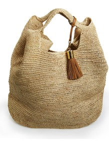 Bucket Bag - predominant colour: stone; occasions: casual, holiday; style: tote; length: shoulder (tucks under arm); size: standard; material: macrame/raffia/straw; pattern: plain; finish: plain